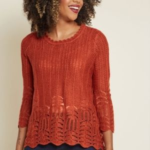 MODCLOTH Nostalgic Knits Scalloped Sweater in Rust